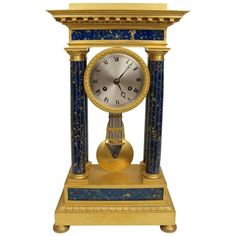 Impressive French Empire Gilt Bronze and Lapis Lazuli Mantel Clock | From a unique collection of antique and modern clocks at https://www.1stdibs.com/furniture/decorative-objects/clocks/