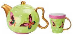 Tea Set Butterfly:Set da tè in porcellana dipinta a mano composto da una teiera della capacità di 0.9 lt e da due tazze con manico contenenti 0.3 lt.  $82
