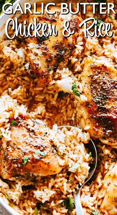 Garlic Butter Chicken and Rice Recipe – Bursting with buttery garlic flavor, this easy chicken thighs recipe is a one pot dinner guaranteed to impress even the pickiest eaters! Easy Chicken Thigh Recipes, Chicken Thights Recipes, Chicken Rice Recipes, Turkey Recipes, Dinner Recipes, Chicken Thigh Rice Recipe, Chicken Thigh Meals, Chicken Theighs, Recipes With Rice
