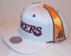 1dc09bec06d3e Mitchell   Ness NBA LA LAKERS Mens Jersey Mesh White Snapback Hat La  Lakers