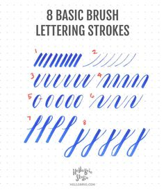 Click through to learn how to create these 8 basic strokes for brush lettering and brush calligraphy