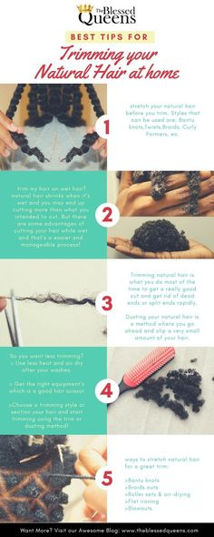 Have you ever wondered what are the Best Cutting Natural Hair Tips for Trim Hair at Home? 10 fundamentals on learning how to trim your natural hair easily! tips Best Cutting Natural Hair Tips for Trim Hair at Home - The Blessed Queens Natural Hair Care Tips, Long Natural Hair, Natural Hair Growth, Natural Hair Journey, Natural Beauty, Natural Women, Natural Life, Do It Yourself Fashion, Pelo Natural