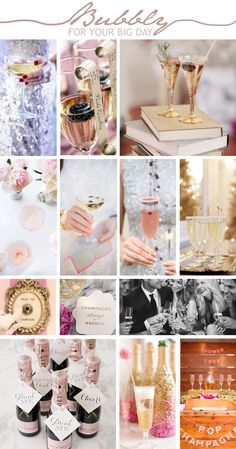 Pop! Fizz! Clink! What is a wedding without a sparkling glass of bubbly? Champagne brings about celebrations and there is no bigger festivity than the day you tie the knot. From champagne showers to crystal glass towers, bubbly bars to blushing pink drinks – the options of including champers into your big day are endless! Inspiration Boards, Wedding Inspiration, Bubbly Bar, Pink Drinks, Tie The Knots, Towers, Big Day, Wedding Colors, Blush Pink