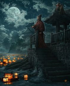 Lanterns and the Moon by *kerembeyit on deviantART