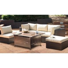 Belham Living Marcella All-Weather Wicker 6 Piece Sectional Fire Pit Chat Set | Hayneedle
