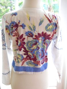 Sharon Smith of Santa Fe jacket made from vintage table linens: s