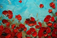 ORIGINAL Abstract Art Blue Red Poppies Painting by ModernHouseArt