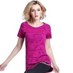 빠른 건조 전문 여성 스포츠 t 셔츠 yoga 피트니스 실행 조깅 체육관 땀 통기성 연습 짧은 소매 탑