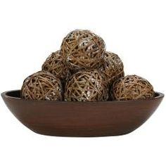@Overstock - Materials: WickerPlant type: Balls Create a center piecehttp://www.overstock.com/Home-Garden/Decorative-Balls-Set-of-6/6274990/product.html?CID=214117 $25.05