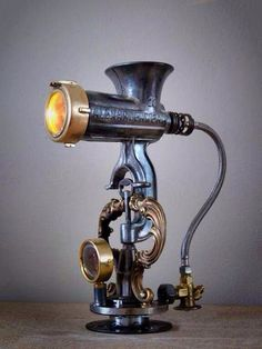 Lamp, steampunk? Old meat grinder. Industrial Lighting Project Idea Project Difficulty: Simple MaritimeVintage.com #Industrial #Lighting #Industriallighting
