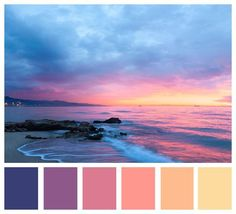 Not enough blue in the palette! Color Schemes Colour Palettes, Paint Color Schemes, Colour Pallette, Beach Color Schemes, Color Combos, Sunset Color Palette, Sunrise Colors, Sunrise Sunrise, Tequila Sunrise