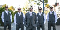 I kinda like the whole no jacket, only vest thing... hmm... 9 Awesome Groomsmen Looks: Go Gray Nobody ever said black was the official groomsmen color. So step outside the box with a gray suit! Feeling casual? Lose the jacket (and add sunglasses!) for an edgier look.