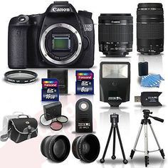 Canon EOS 70D SLR Camera + 4 Lens Kit 18-55 IS +75-300 mm + 24GB TOP VALUE KIT! Deal Price: $1299.95. List Price: $1899.00. Visit http://dealtodeals.com/top-trending-deals/canon-eos-70d-slr-camera-lens-kit-mm-24gb-top/d15141/camera-photo/c45/