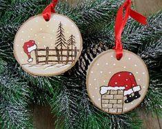 Santa Wood Burned Birch Slice Christmas Ornament Hand Burned Painted Set of 2