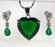Rhinestone Necklace Earrings Emerald Green Silver Signed 18k GF Pierced Pendant…