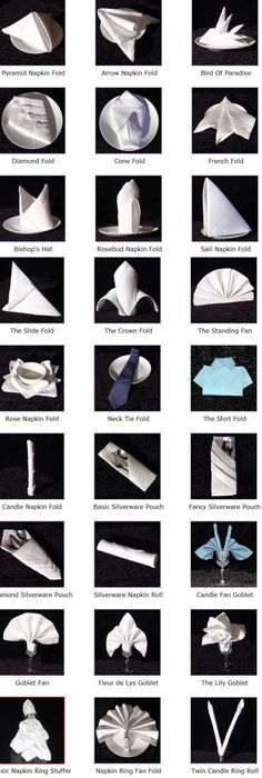 Click on a napkin design  for detailed folding instructions.