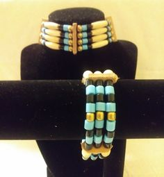 We are excited to share the latest edition to our #etsy shop: Native American style choker necklace and bracelet set https://etsy.me/2lAy0Oc #jewelry #necklace #bracelet #set #glasbeads #brass #unisexadults #blue #black