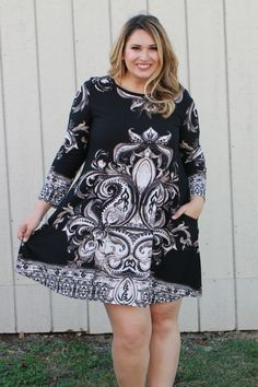 One Faith Boutique - We Meet Again Vintage Print Dress With Pockets ~ Black ~ Sizes 12-18, $38.00 (https://www.onefaithboutique.com/new-arrivals/we-meet-again-vintage-print-dress-with-pockets-black-sizes-12-18/)