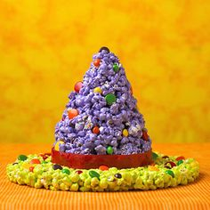 Witch hat made from popcorn.