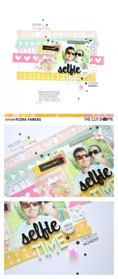 12x12 scrapbook layout with selfie photo made with @thecutshoppe Washi Love cut file and @felicity_jane September Kit by @floramfarkas .