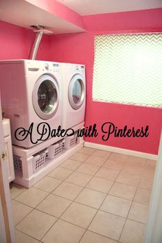 K, I am loving the pink laundry room. Next house I am gonna work on my husband for that. But the real reason I re pinned this was THE KICK ASS LAUNDRY ORGANIZER UNDER THE MACHINES!!!