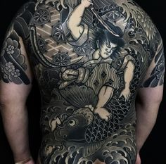 Japanese back tattoo by @jangxxwon.  #japaneseink #japanesetattoo #irezumi #tebori #bngink #blackandgrey #blackandgreytattoo #cooltattoo #largetattoo #backtattoo #armtattoo #halfsleeve #halfsleevetattoo #tattoosleeve #samuraitattoo #fishtattoo #koitattoo #flowertattoo #cherryblossomtattoo #blackwork #blackink #blacktattoo #wavetattoo #naturetattoo