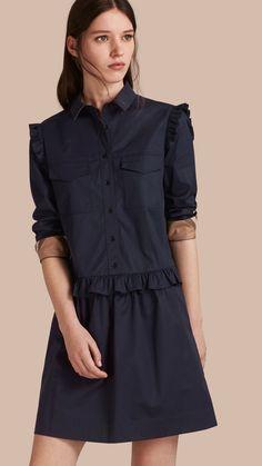 Vestido estilo camisa de algodão com detalhe xadrez e babados Azul Marinho   Burberry