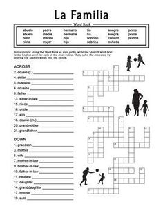 La Familia (Extended Family) Spanish Family Crossword Puzzle worksheet ...