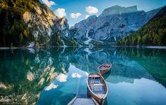 Lake Braies, Dolomites, Lake Prags, Alps, Pragser Wildsee, South Tyrol, Italy, lake, Mountains, reflection, Boat