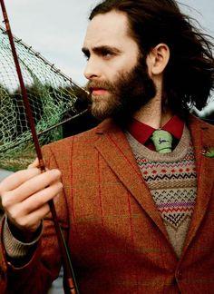 Windowpane tweed jacket, fair isle sweater