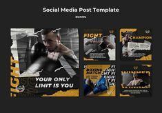 Kickboxing, Army Post, Pilates Training, Boxing Fight, Social Media Template, Workout, Templates, Instagram Posts, Free