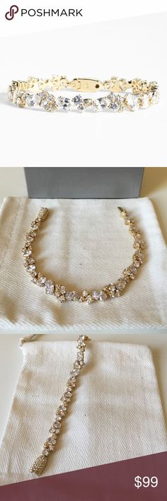 Nadri Cluster Line Bracelet *Nordstrom Exclusive* Nadri Gold Cluster Line Bracelet. Simple Beautiful statement piece worn once on my wedding day. Perfect condition! Tongue and groove closure. Nadri Jewelry Bracelets