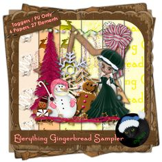 Everything Gingerbread Sampler - Winter themed digital taggers kit composed of six papers (800 x 800 pxls, .jpg) and 27 .png elements including one cookie poser courtesy of ©Outlaw by Design. 300 DPI. Personal Use only.