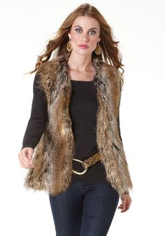 Tipped Fox Faux Fur Fashionista Vest