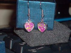 LOOK!!!! A PRECIOUS PAIR OF STERLING SILVER PINK FIRE OPAL HEART EARRINGS