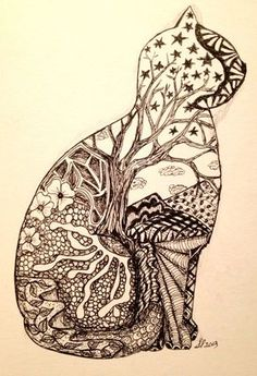 Zentangle cat- I really like the tree and the 'picture' feel for the whole thing. Inspiration