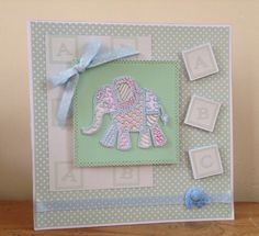 May Tattered lace patchwork elephant. Kids Cards, Baby Cards, Patchwork Cards, Handmade Cards, New Baby Products, Card Ideas, Elephant, Babies, Stitch