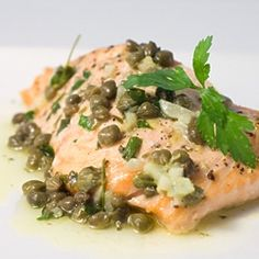 Baked Wild Alaskan King Salmon with Lemon Caper Butter. A great way to usher in Salmon season.