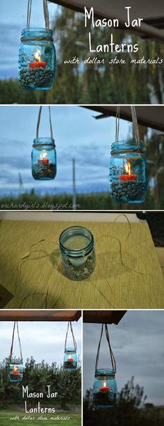 Mason Jar Lanterns with Dollar Store Materials