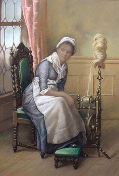 Lady at the Spinning Wheel - Pastel Portrait 1885. Artist: English School January 1885. Monnogramed 'CB'
