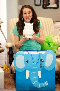 At her baby shower, @Sada {Casa de Lewis} was thrilled to receive our owl coin bank from her sister! Perfect accessory for a nursery.