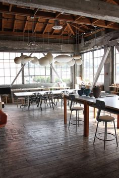 Heath Ceramics Creative Workspace / shot by Sacramento Street | George Nelson Bubble Lamps