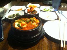 Seolleongtang, or oxtail soup; various Korean hot stews
