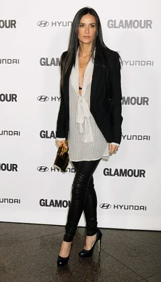 Demi Moore Fashion maybe a tank would make this more realistic for Chicago but I have this Helmut Lang Jacket!