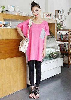 Preppy Style Round Neck Letter Print Color-blocked Cotton Loose T-shirt | martofchina.com