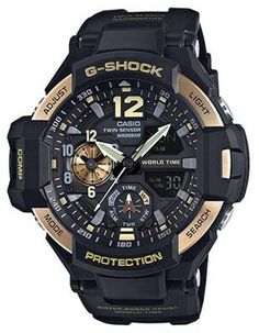 b2b6ebd0291 Casio G-Shock - Black Case - Gold-Tone Accents - Ana-Digi - World Time -  200m