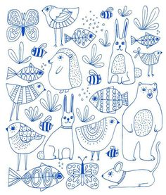 More of the animals // these from my upcoming Flora & Fauna coloring book which will be released in March (I made them blue in Photoshop but in the book they're black & white) by lisacongdon Kunstjournal Inspiration, Art Journal Inspiration, Doodle Drawings, Animal Drawings, Coloring Books, Coloring Pages, Illustration Art, Illustrations, Doodles