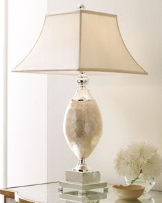"""Mother-of-Pearl Lamp at Horchow. 17""""Sq. x 32""""T : Champagne square bell shade is 9""""Sq. (top) x 17""""Sq. (bottom) x 11""""T"""