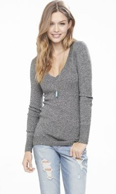 I like the deep V look with long necklace!   marl deep v-neck fitted tunic sweater from EXPRESS