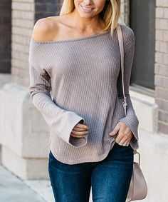 Mocha Waffle Bell-Sleeve Off-Shoulder Top - Women. An off-shoulder silhouette adds flirty flair to this chic top.